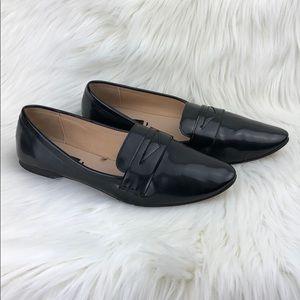 Zara flat black patent leather Size 8/ 38